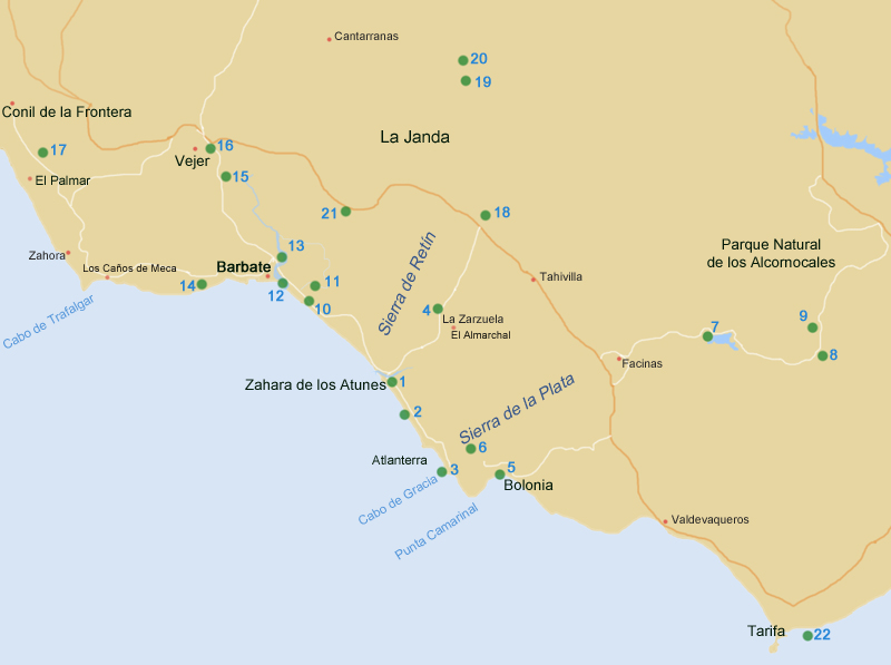 Map of Locations, SE Costa de la Luz, Cadiz Provence, Andalucia, Spain  ·  www.fssbirding.org.uk