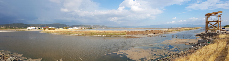 Kalloni Saltpans - new NW hide construction © Fraser Simpson  ·  www.fssbirding.org.uk