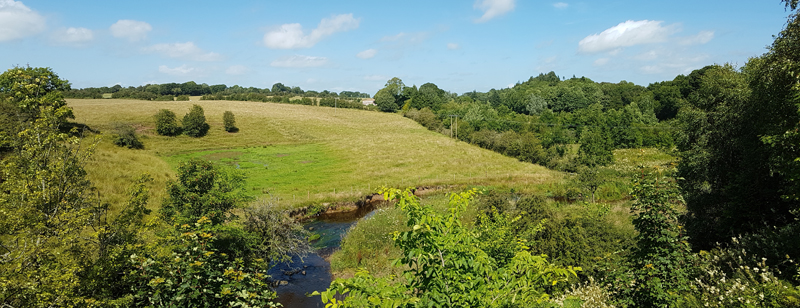 Point 1. View from bridge over Carmel Water: Warblers, Long-tailed Tit, Bullfinch, Great Spotted Woodpecker, Buzzard, Song Thrush, etc. (Knockentiber-Springside disused railway line) © Fraser Simpson