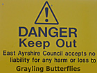 East Ayrshire Council sign at Moorfield