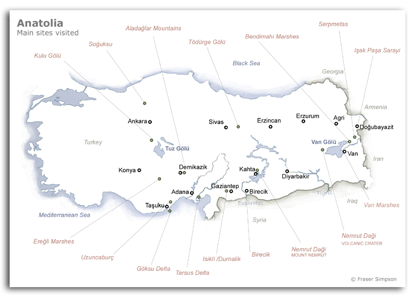 Map of main sites visited in Turkey © 2008 Fraser Simpson